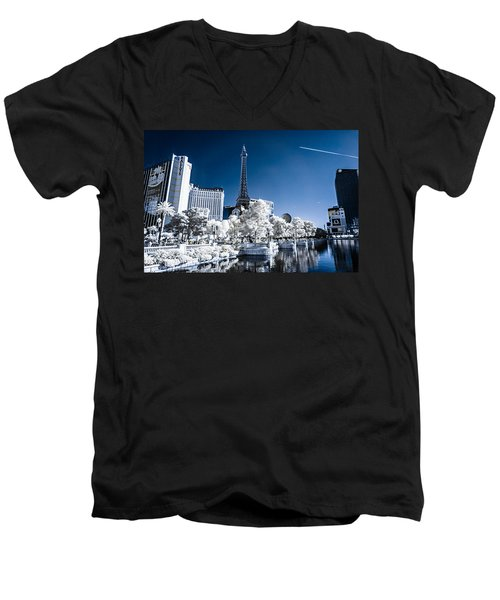 Las Vegas Strip In Infrared 2 Men's V-Neck T-Shirt
