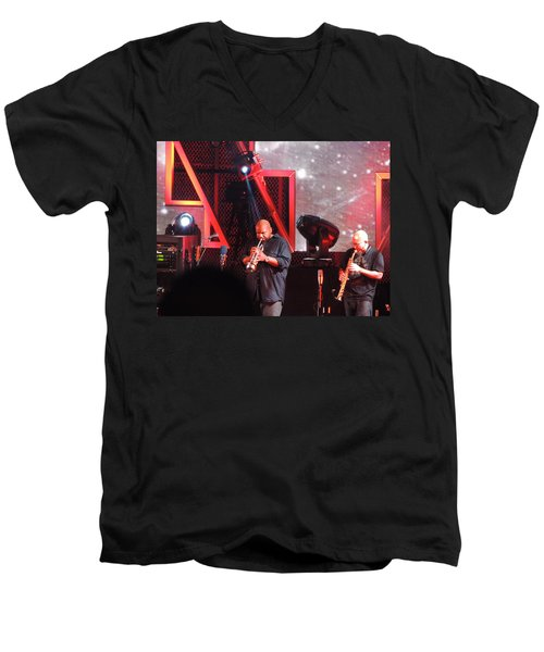Men's V-Neck T-Shirt featuring the photograph Lashawn Ross And Jeff Coffen by Aaron Martens