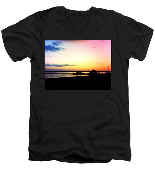 Men's V-Neck T-Shirt featuring the photograph Last Light by Denyse Duhaime