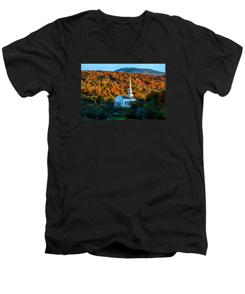 Last Rays Of Autumn Sun On Stowe Church Men's V-Neck T-Shirt by Jeff Folger
