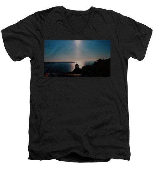Late Evening Meditation On Santorini Island Greece Men's V-Neck T-Shirt