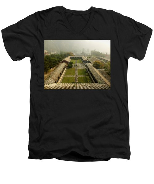 Men's V-Neck T-Shirt featuring the photograph Late Morning Fog At The Great Wall  by Lucinda Walter
