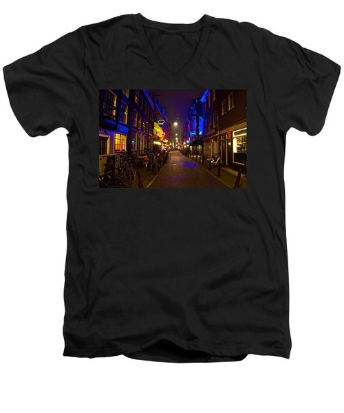 Men's V-Neck T-Shirt featuring the photograph Late Night Neon  by Jonah  Anderson