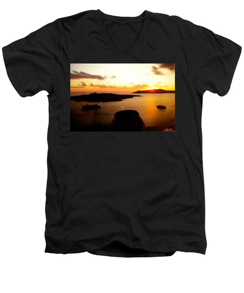 Late Sunset Santorini  Island Greece Men's V-Neck T-Shirt