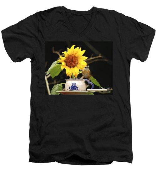 Men's V-Neck T-Shirt featuring the photograph Carolina Wren Bird And Tea Cup by Luana K Perez