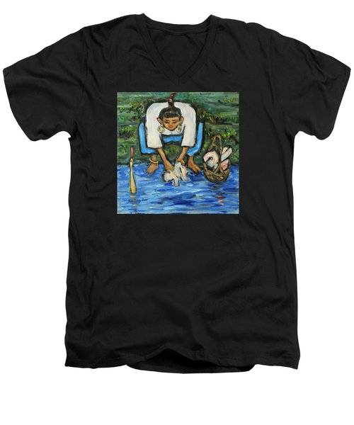 Men's V-Neck T-Shirt featuring the painting Laundry Girl by Xueling Zou