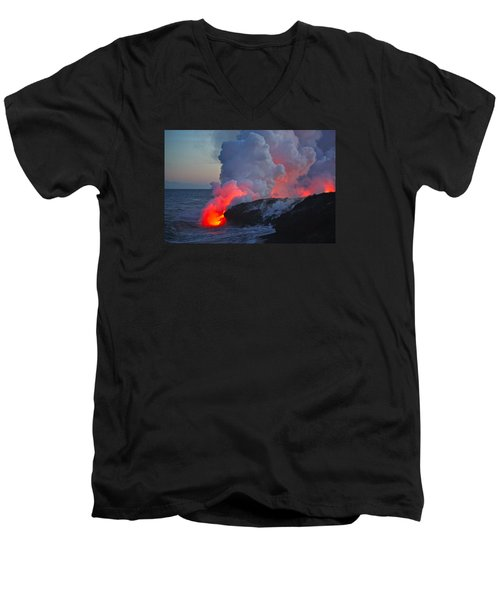 Lava Flow At Sunset In Kalapana Men's V-Neck T-Shirt by Venetia Featherstone-Witty