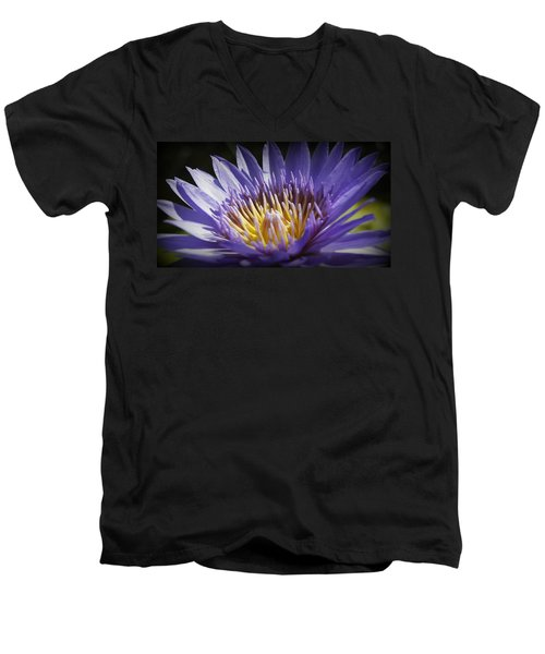 Men's V-Neck T-Shirt featuring the photograph Lavendar Lily by Laurie Perry