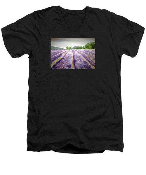 Lavender Fields Tasmania Men's V-Neck T-Shirt by Elvira Ingram
