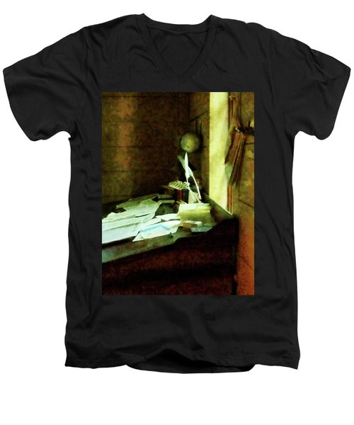 Men's V-Neck T-Shirt featuring the photograph Lawyer - Desk With Quills And Papers by Susan Savad