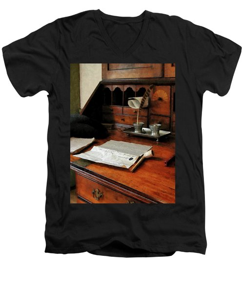 Lawyer - Quill Papers And Pipe Men's V-Neck T-Shirt by Susan Savad