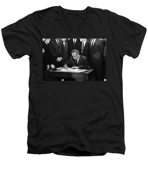 Lbj Signs Civil Rights Bill Men's V-Neck T-Shirt by Underwood Archives Warren Leffler