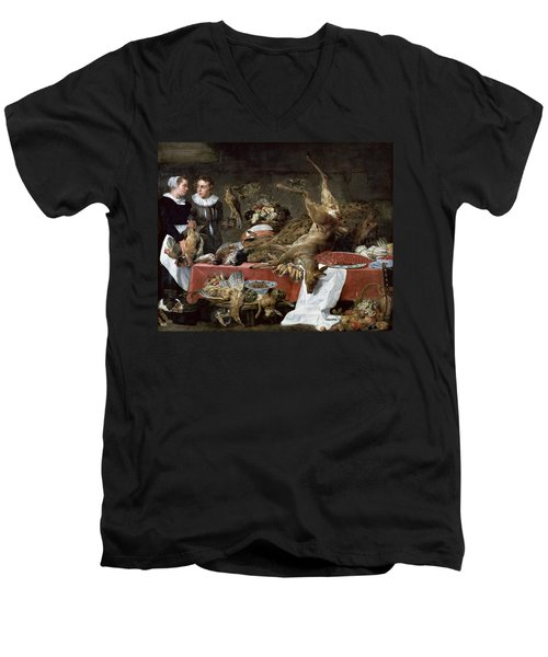 Le Cellier Oil On Canvas Men's V-Neck T-Shirt by Frans Snyders or Snijders