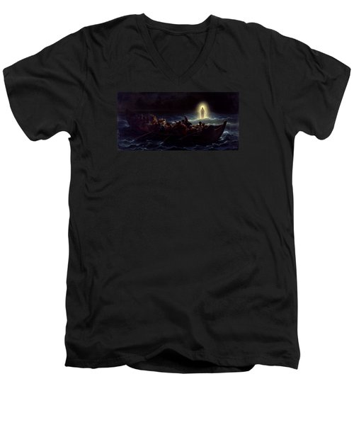 Men's V-Neck T-Shirt featuring the painting Le Christ Marchant Sur La Mer by Amedee Varint