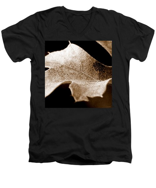 Men's V-Neck T-Shirt featuring the photograph Leaf Collage 1 by Lauren Radke