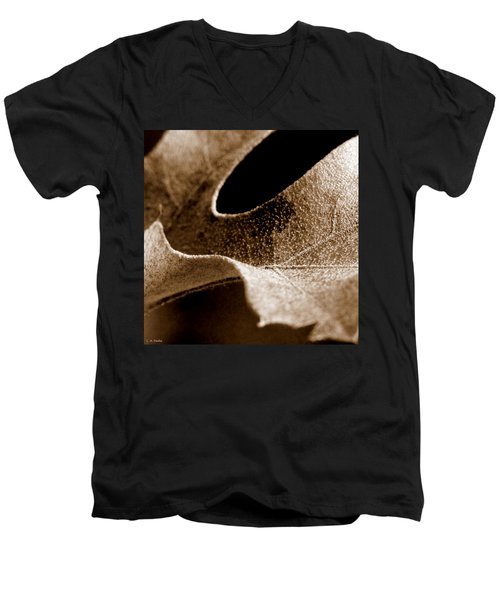 Men's V-Neck T-Shirt featuring the photograph Leaf Collage 3 by Lauren Radke
