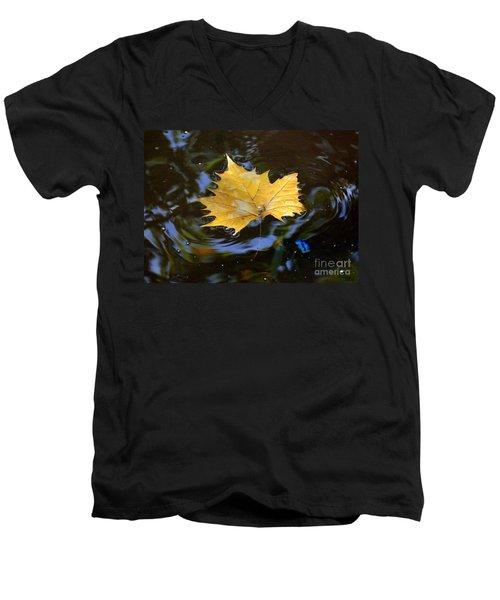Leaf In Pond Men's V-Neck T-Shirt