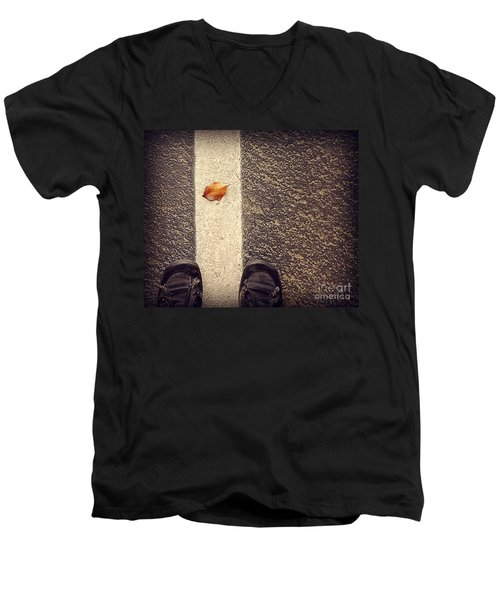 Men's V-Neck T-Shirt featuring the photograph Leaf On The Line by Meghan at FireBonnet Art