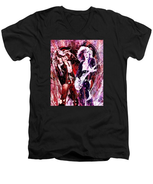 Led Zeppelin - Jimmy Page And Robert Plant Men's V-Neck T-Shirt by Ryan Rock Artist