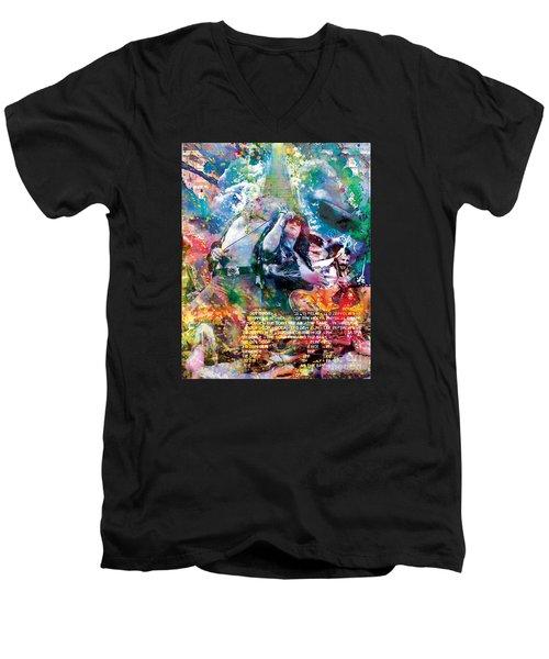 Led Zeppelin Original Painting Print  Men's V-Neck T-Shirt