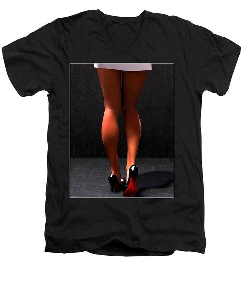 Men's V-Neck T-Shirt featuring the digital art Legs... by Tim Fillingim