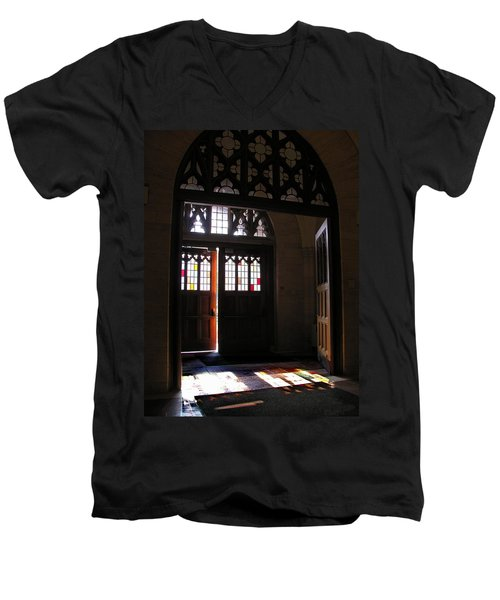 Men's V-Neck T-Shirt featuring the photograph Lehigh University Linderman Library Entrance by Jacqueline M Lewis