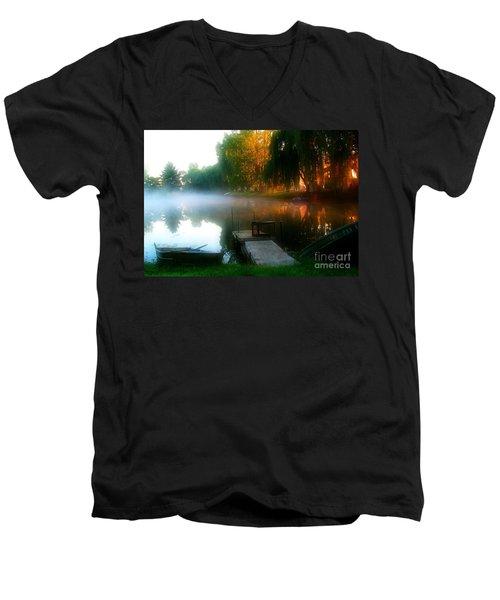 Leidy Lake Campground Men's V-Neck T-Shirt by Douglas Stucky