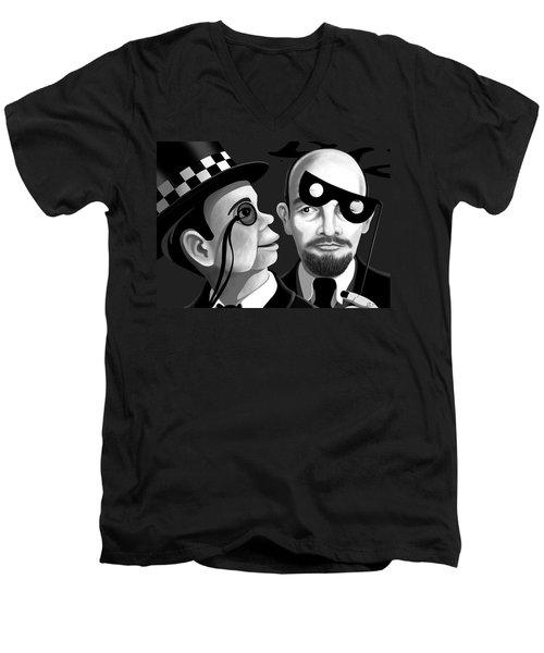 Men's V-Neck T-Shirt featuring the digital art Lenin And Mccarthy   by Tom Dickson