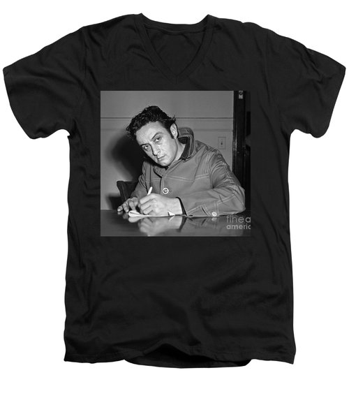Men's V-Neck T-Shirt featuring the photograph Lenny Bruce 1963 by Martin Konopacki Restoration