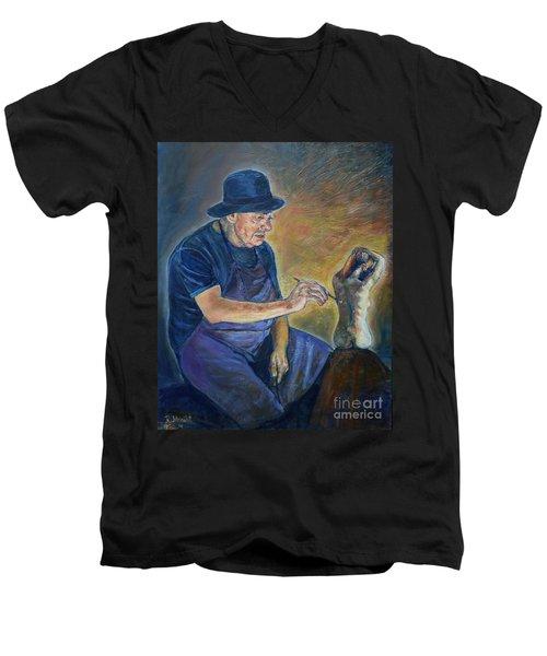 Figurative Painting Men's V-Neck T-Shirt