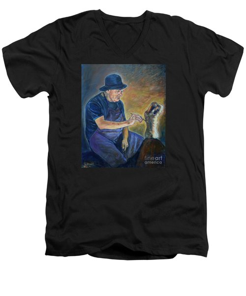 Figurative Painting Men's V-Neck T-Shirt