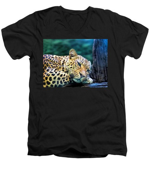 Men's V-Neck T-Shirt featuring the photograph Leopard 1 by Dawn Eshelman