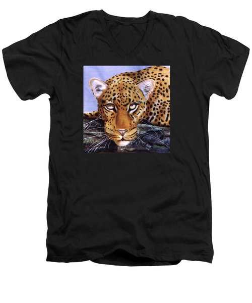 Men's V-Neck T-Shirt featuring the painting Leopard In A Tree by Thomas J Herring