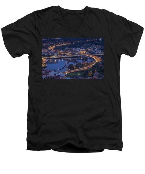 Lerez River Pontevedra Galicia Spain Men's V-Neck T-Shirt by Pablo Avanzini