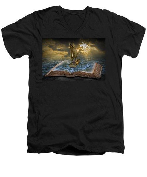 Let The Adventure Begin Men's V-Neck T-Shirt by Randall Nyhof