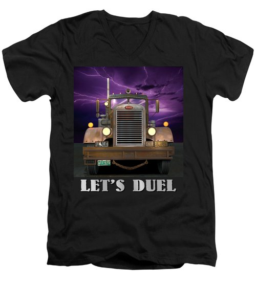 Men's V-Neck T-Shirt featuring the digital art Let's Duel by Stuart Swartz