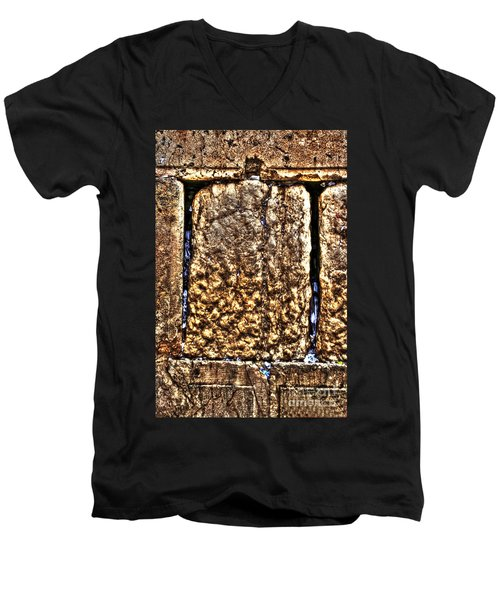 Men's V-Neck T-Shirt featuring the photograph Letters In The Wailing Wall by Doc Braham