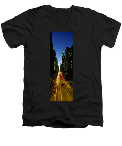 Lexington Avenue, Cityscape, Nyc, New Men's V-Neck T-Shirt by Panoramic Images