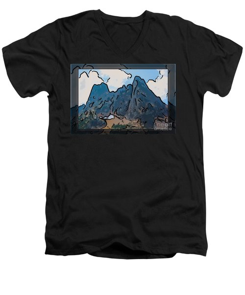 Liberty Bell Mountain Abstract Landscape Painting Men's V-Neck T-Shirt