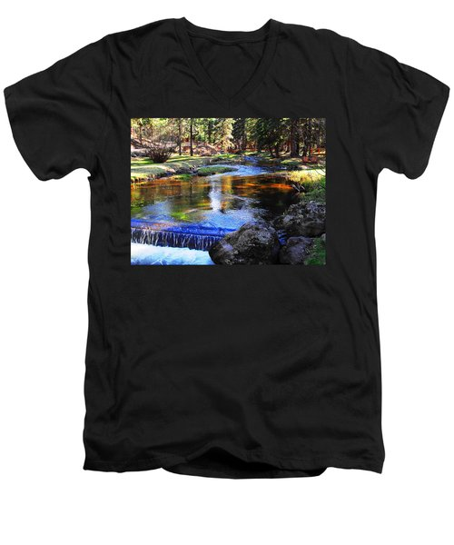 Life By A Babbling Brook Men's V-Neck T-Shirt by Natalie Ortiz
