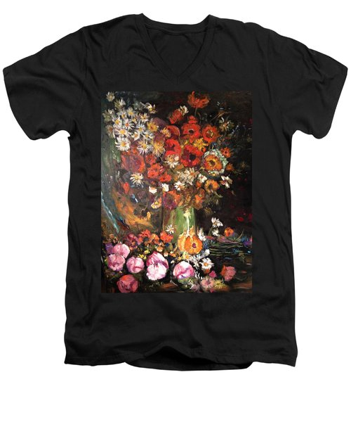 Men's V-Neck T-Shirt featuring the painting Life Is Like A Vase Of Flowers by Belinda Low
