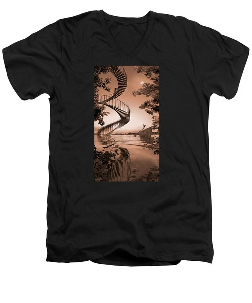Men's V-Neck T-Shirt featuring the digital art Life Without Stairs by Shinji K