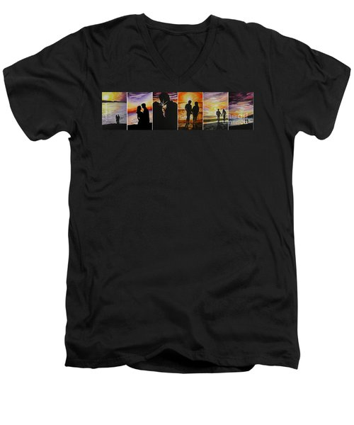 Men's V-Neck T-Shirt featuring the painting Life's A Beach by Tamir Barkan