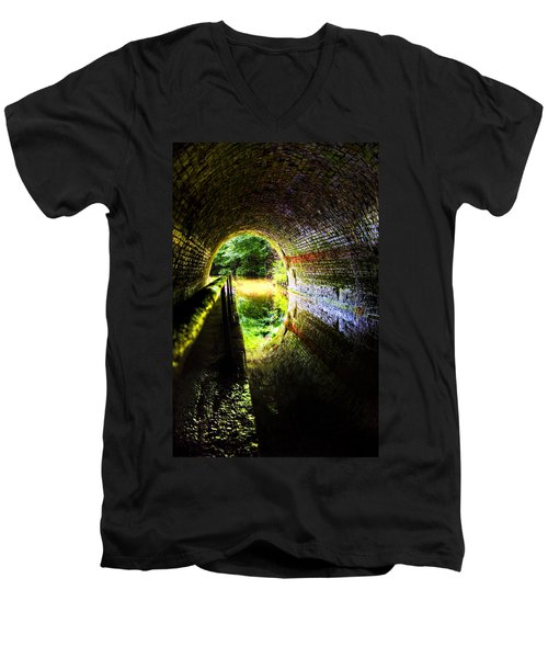 Light At The End Of The Tunnel Men's V-Neck T-Shirt by Meirion Matthias
