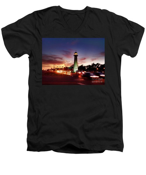 Light House Men's V-Neck T-Shirt by Janice Spivey