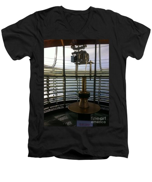 Men's V-Neck T-Shirt featuring the photograph Light House Lamp by Susan Garren