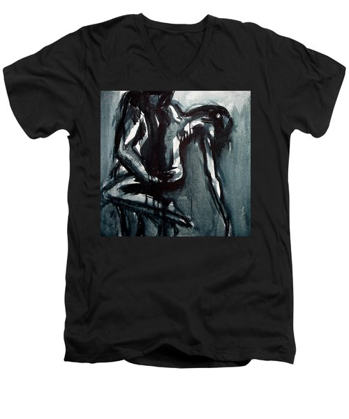 Men's V-Neck T-Shirt featuring the painting Light In The Darkness by Jarmo Korhonen aka Jarko