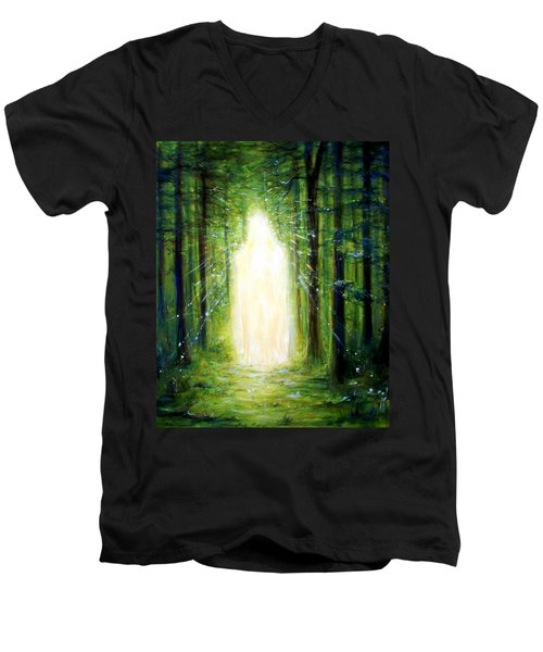 Men's V-Neck T-Shirt featuring the painting Light In The Garden by Heather Calderon