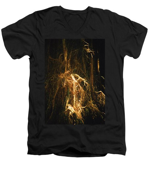 Men's V-Neck T-Shirt featuring the photograph Light Roots by Evelyn Tambour