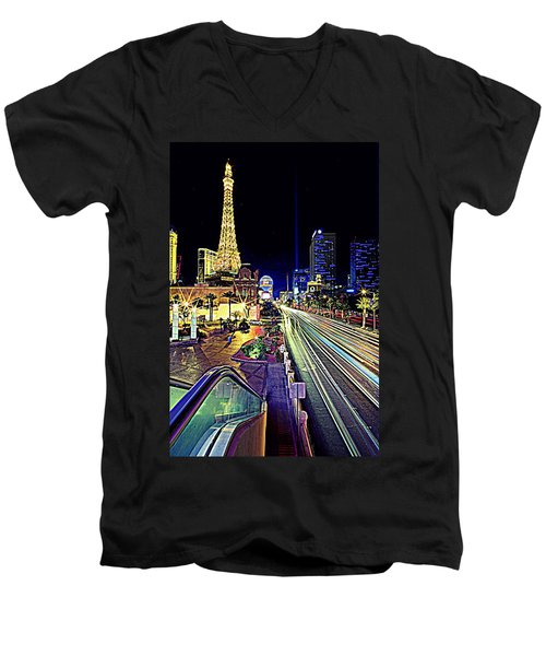Light Speed Vegas Men's V-Neck T-Shirt by Matt Helm